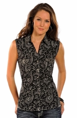 Rough Stock Womens Sleeveless Print Top - Black (Closeout)