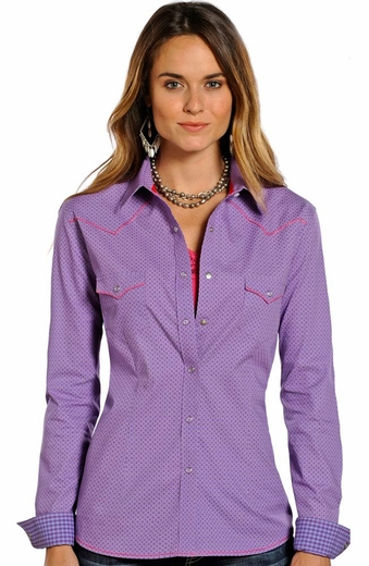 Rough Stock Womens Long Sleeve Print Snap Western Shirt - Purple (Closeout)