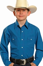 Rough Stock Boy's Long Sleeve Check Snap Shirt - Blue (Closeout)