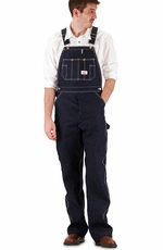 Round House Blue Denim Bib Overall (Button Fly)-Made In the USA