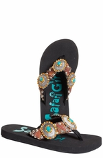 Safari Girl Flip Flops with  Crystal Conchos - Black (Closeout)