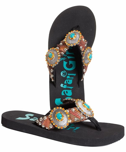 Safari Girl Flip Flops with  Crystal Conchos - Black