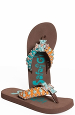 Safari Girl Womens Cross Flip Flops with Stones  - Blue/Orange (Closeout)