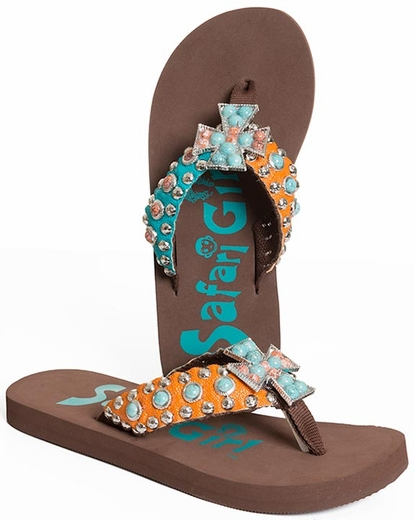 Safari Girl Womens Cross Flip Flops with Stones  - Blue/Orange