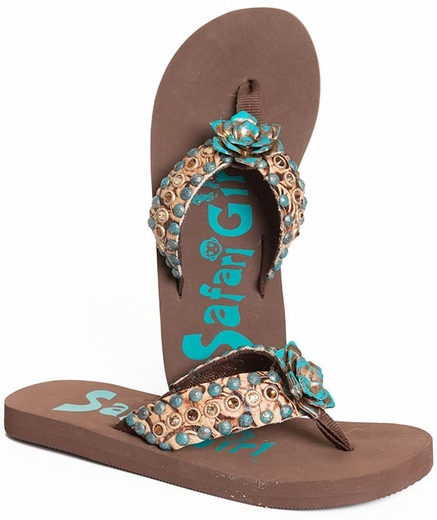 Safari Girl Womens Flip Flop Flower and Rhinestones - Brown/Turquoise (Closeout)