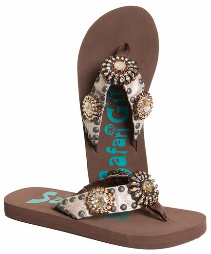 Safari Girl Womens Flip Flops with Crystal Conchos - Brown