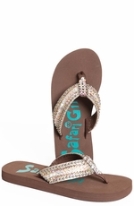 Safari Girl Womens Flip Flops with Crystals - Brown (Closeout)
