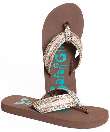 Safari Girl Womens Flip Flops with Crystals - Brown