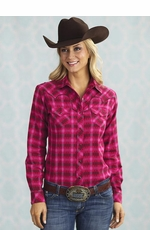 Sherry Cervi Womens Diamond Dobby Western Snap Shirt - Raspberry