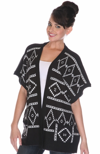 Sisters Womens Southwest Cardigan - Black (Closeout)