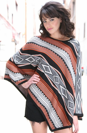 Sisters Womens Aztec Poncho Pullover - Orange