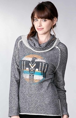 Sisters Women's Eagle Print Cowl Neck Top - Grey