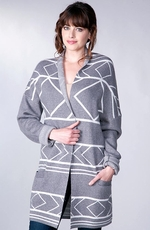Sisters Women's High Neck Cardigan - Grey (Closeout)