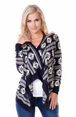 Sisters Womens Aztec Cardi Wrap - Blue/White