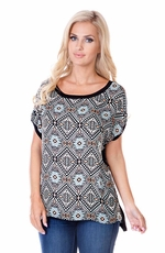 Sisters Womens Aztec Sweater Shirt - Black/Multi