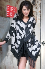 Sisters Womens Print Cardigan - Black/Grey (Closeout)