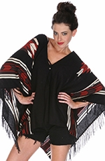 Sisters Womens Southwest Jacquard Poncho - Black (Closeout)