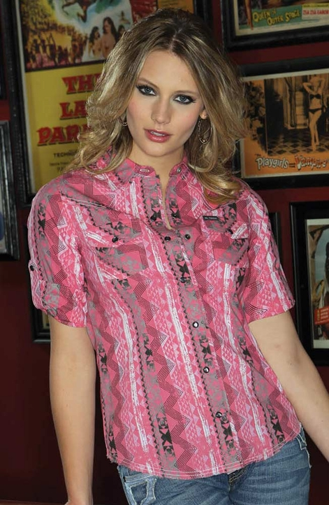 Southern Thread Womens Print Snap Western Shirt - Pink (Closeout)