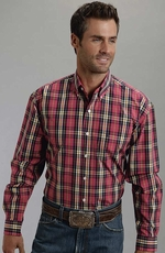 Stenson Mens Long Sleeve Button Down Plaid Shirt - Pink