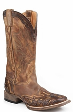 Stetson Men's Hand Tooled Wide Square Toe Cowboy Boots with Crown - Brown