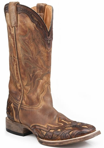 Stetson Men's Hand Tooled Wide Square Toe Cowboy Boots with Crown - Brown (Closeout)