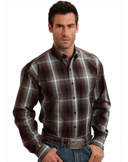 Stetson Men's Long Sleeve Button Down Shirt - Brown (Closeout)