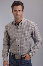 Stetson Men's Long Sleeve Gingham Plaid Button Down Shirt - Brown