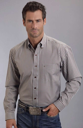 Stetson Men's Long Sleeve Gingham Plaid Button Down Shirt - Brown (Closeout)