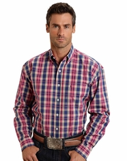 Stetson Men's Long Sleeve Plaid Button Down Shirt - Blue (Closeout)