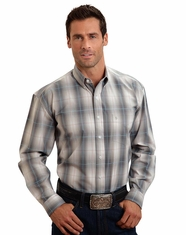 Stetson Men's Long Sleeve Plaid Button Down Shirt - Grey (Closeout)