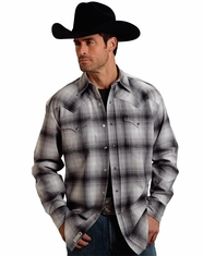 Stetson Men's Long Sleeve Plaid Flannel Snap Shirt - Grey