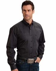 Stetson Men's Long Sleeve Print Button Down Shirt - Black