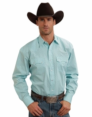 Stetson Men's Long Sleeve Print Snap Shirt - Blue (Closeout)