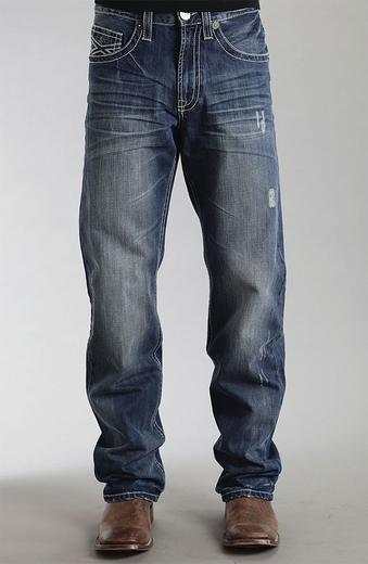 Stetson Mens Boot Cut Relaxed Fit Jeans with X Pockets