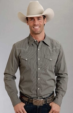 Stetson Mens Long Sleeve Dot Print Snap Western Shirt - Grey