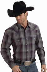 Stetson Mens Long Sleeve Optic Plaid Snap Western Shirt - Wine
