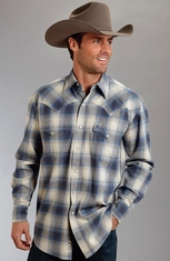 Stetson Mens Long Sleeve Plaid Button Down Western Shirt - Blue
