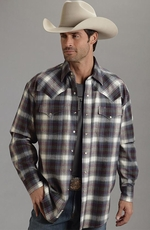 Stetson Mens Long Sleeve Plaid Flannel Snap Western Shirt