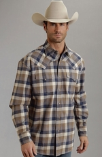 Stetson Mens Long Sleeve Buffalo Check Flannel Snap Western Shirt - Brown