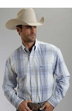 Stetson Mens Long Sleeve Plaid Western Button Down Shirt - Blue/White (Closeout)