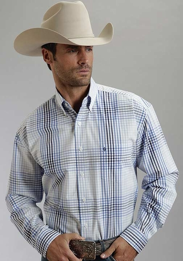 Stetson Mens Long Sleeve Plaid Western Button Down Shirt - Blue/White