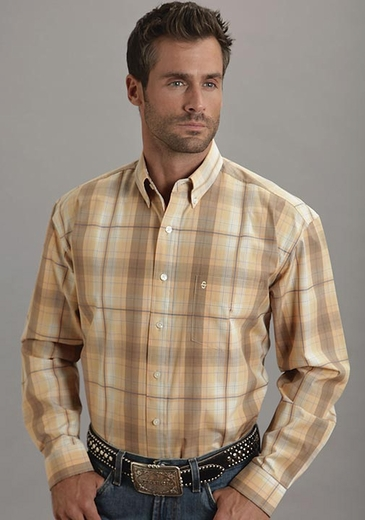 Stetson Mens Long Sleeve Plaid Western Button Down Shirt - Orange (Closeout)
