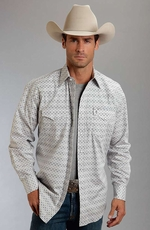 Stetson Mens Long Sleeve Print Snap Western Shirt - Grey (Closeout)