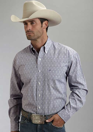 Stetson Mens Long Sleeve Print Western Button Down Shirt - Purple
