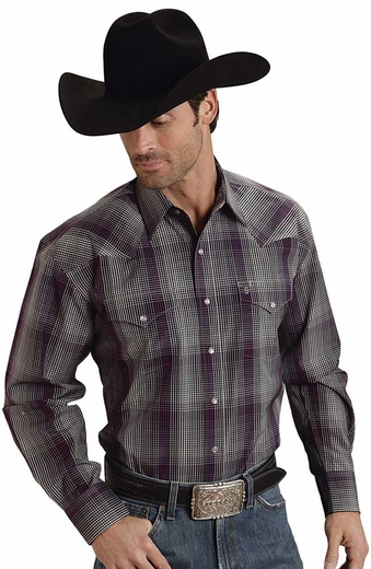 Stetson Mens Long Sleeve Optic Plaid Snap Western Shirt - Wine (Closeout)