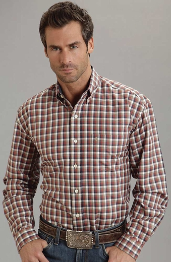 Stetson Mens Long Sleeve Plaid Button Down Western Shirt (Closeout)