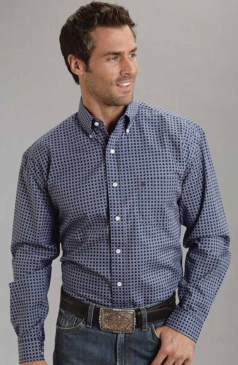 Stetson Mens Long Sleeve Plaid Button Down Western Shirt - Blue (Closeout)