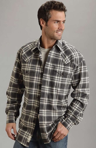 Stetson Mens Long Sleeve Plaid Button Down Western Shirt - Grey (Closeout)