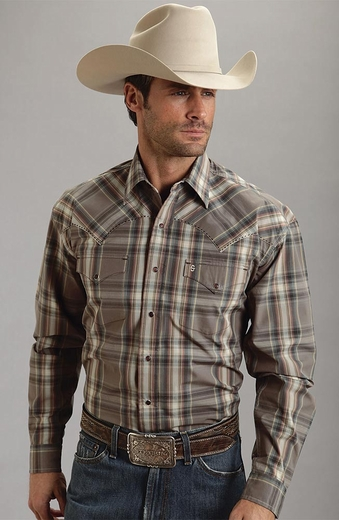 Stetson Mens Long Sleeve Plaid Snap Western Shirt - Brown (Closeout)