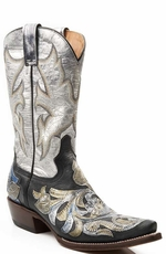 "Stetson Women's 12"" Hand Tooled Snip Toe Cowboy Boots - Black/ Metallic (Closeout)"